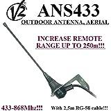Antenne extérieure/antenne V2Ans433pour portail automatisation récepteurs, 433Mhz-868mhz, 50Ohm avec 2,5m de câble RG58. Haut de gamme jusqu'à 250m.