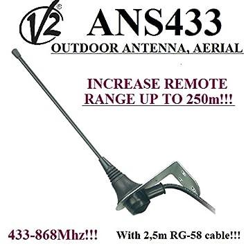 V2 ANS433 Top range Antena / antena de exterior para receptores de automatización de puertas, 433Mhz-868Mhz, 50 Ohm con cable de 2,5m RG58. Rango: ...