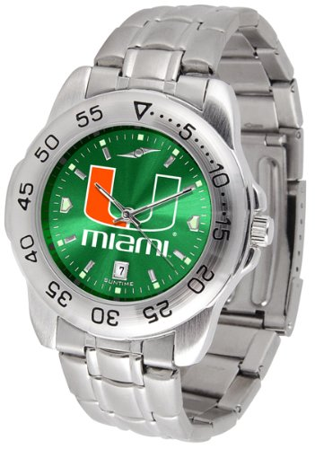 SunTime Miami Hurricanes Sport Steel Band Ano-Chrome Men