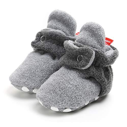 (LUWU Baby Boy Girls Newborn Soft Fleece Booties Infant Toddle Crib Shoes Winter Snow Boots (0-6 Months, Light Grey-Dark Grey))