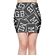 Women's Classic Sexy Tight Mini Skirt Dress MLGB Funny Words Bandage Straight Fitted Bodycon Stretch Fabric
