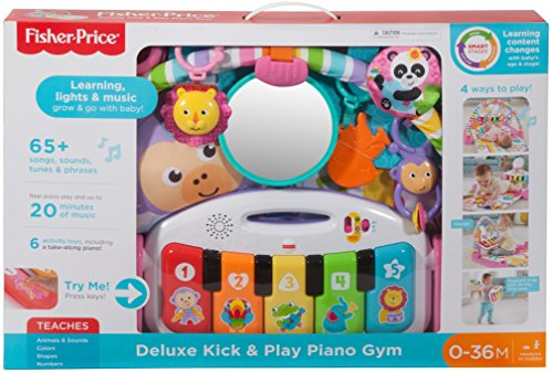 51dTUbaNOVL - Fisher-Price Deluxe Kick 'n Play Piano Gym, Pink