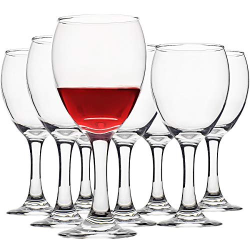 Set of 8 Wine Glasses, Red White Wine Goblet Glasses – 12 Ounce Clear