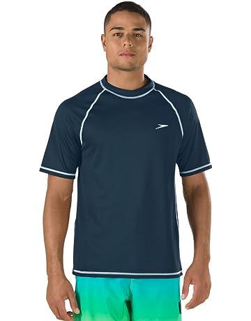 789ffe760c Speedo Men's Short Sleeve Easy Rash Guard Swim Shirt with Uv and UPF 50+  Protection