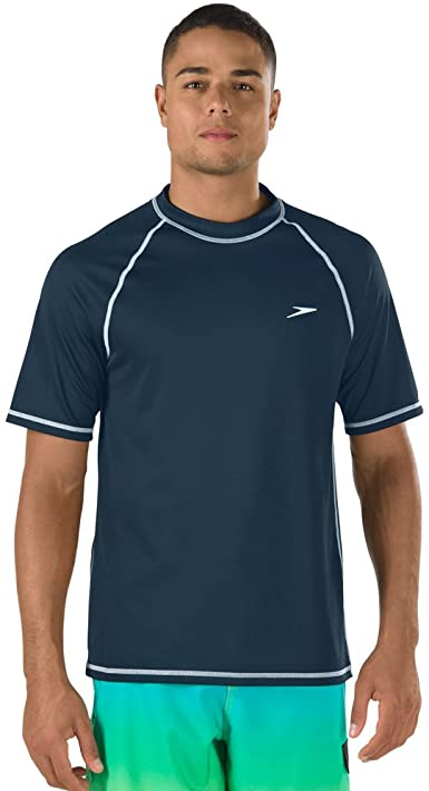 Polyester SPF Swim Surf Shirt for Men Comfortable Soft on Skin UPF 50+ UV Sun Protection with No Sunburn Yellow Jacket Short Sleeve Rash Guard