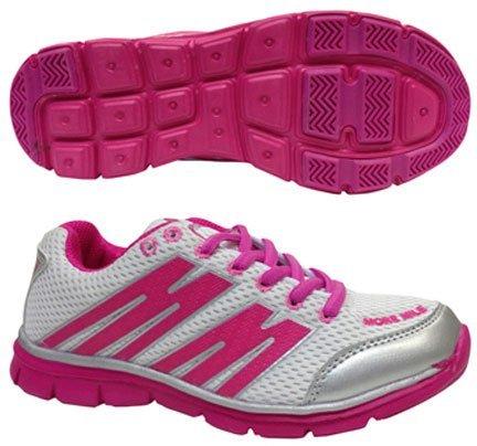 More Mile MM1693 Oslo - Zapatillas de deporte para niña, color rosa y blanco White / Pink