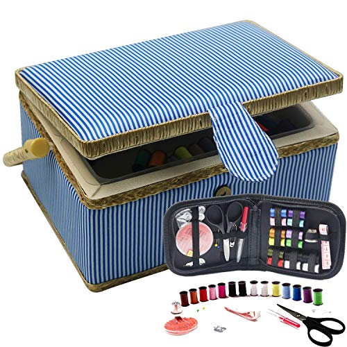 (Sewing Basket with Travel Sewing Kit - Sewing Storage Box with Blue Stripes Print - DIY Sewing Supplies Organizer Filled with Scissor, Thread, Sewing Needles, Tape Measure etc )