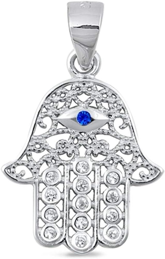 Petite 925 Sterling Silver Blue /& Clear Cubic Zirconia Hamsa Hand of Fatima Pendant Charm