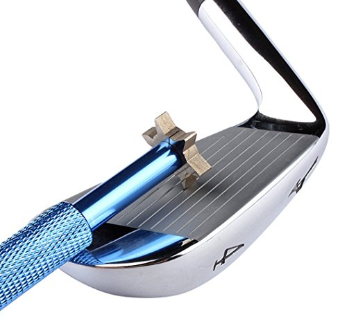 Golf Club Groove Sharpener with 6 Heads - Ideal for Optimal Backspin and Ball Control - Perfect Tool for Wedges and Utility Clubs - Blue Utility Golf Club Equipment