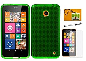 LF 4 in 1 Bundle Accessory - Green Agryle Crystal Skin TPU Case, Stylus, Screen Protector & Wiper for (AT&T, MetroPCS, T-Mobil) Nokia Lumia 635 (TPU Green)
