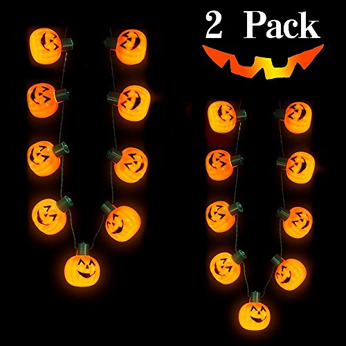 NEARTOP 2Pcs Halloween Light Up Flashing Pumpkin Necklace for Halloween Decorations Party Favors