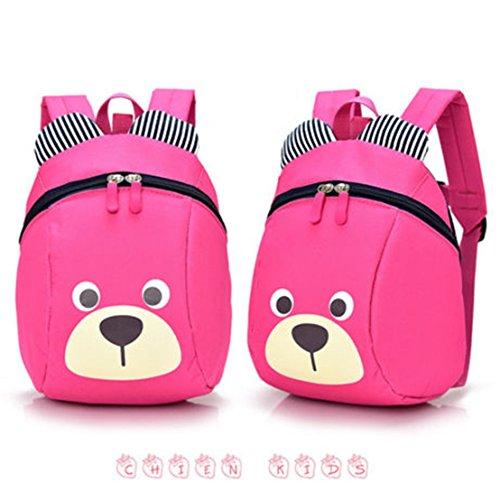FULLIN Rose Red Cute Cartoon Bear Children School Bag Rucksack Reduced Primary School Students Packs Of Light Children Shoulder Bag