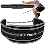 """Rip Toned Dip Belt with Chain - 36"""" Heavy Duty Steel Chain - for Weightlifting Pull Ups, Dips, Powerlifti"""