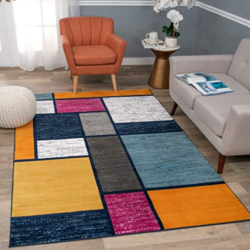 Rugshop Contemporary Modern Boxes Area Rug, 6'6