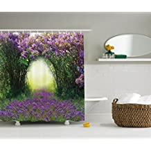 Ambesonne Country Home Decor Collection, Magic Misty Forest Spring Blossoms Bushes Greenery Grasses Sunlight Picture, Polyester Fabric Bathroom Shower Curtain, Lavender Green