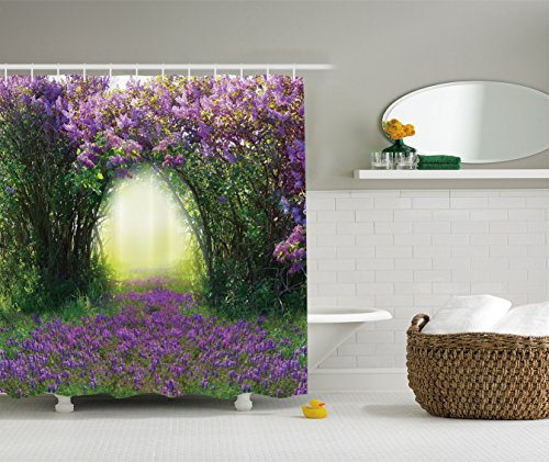 Ambesonne Country Home Decor Collection, Magic Misty Forest Spring Blossoms Bushes Greenery Grasses Sunlight Picture, Polyester Fabric Bathroom Shower Curtain, Lavender Green by Ambesonne