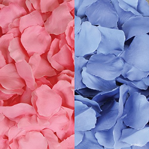 Andaz Press Silk Fabric Rose Petals Table Decorations, Pink, Baby Blue, 400-Pack, Colored Gender Reveal Girl or Boy He or She Baby Shower Party Supplies]()
