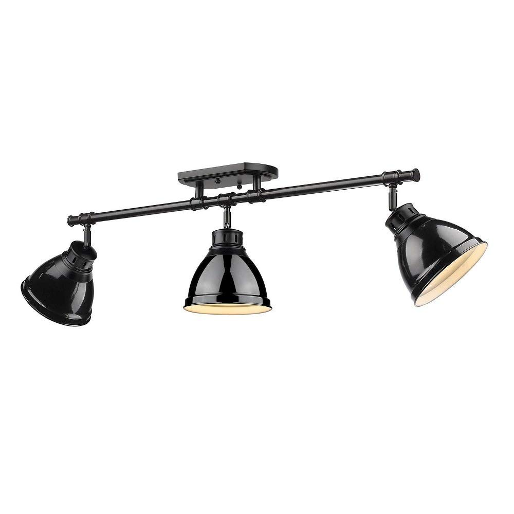 Golden Lighting 3602-3SF BLK-BK Three Track Light Black