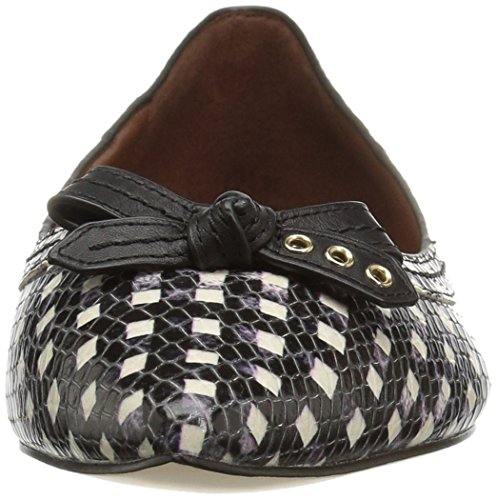 Skimmer Cole White Pointed Bow Alice Grid Black Women's Print Flat Toe Haan I7qF7wC