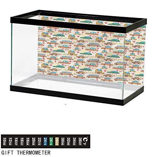 bybyhome Fish Tank Backdrop Cars,Cute Cartoon Style Car,Aquarium Background,30