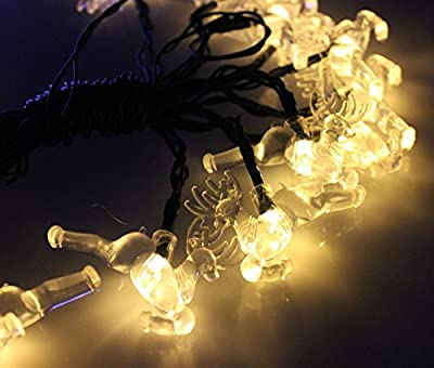 Elobeth 20 LED Solar Powered Christmas String Lights Deer Party Decoration
