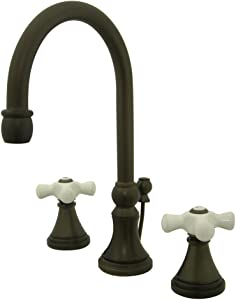 "Nuvo Elements of Design ES2985PX Madison 2-Handle 8"" to 16"" Widespread Lavatory Faucet with Brass Pop-Up, 6-1/2"", Oil Rubbed Bronze"