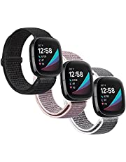 AVOD Nylon Bands Compatible with Fitbit Versa 3/Fitbit Sense, Soft Breathable Sport Loop Adjustable Replacement Strap Women Man Wristband Accessories