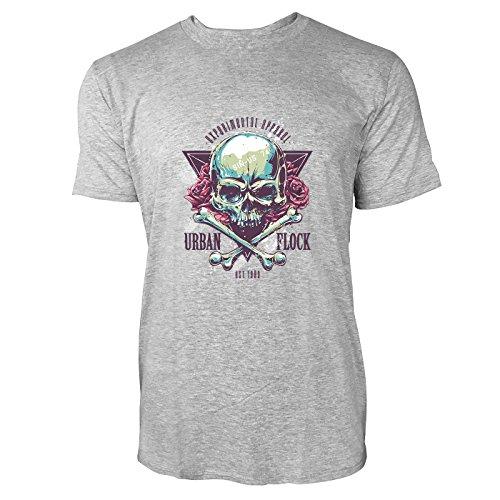 SINUS ART® Totenkopf mit Rosen, Knochen und Dreieck Herren T-Shirts in hellgrau Fun Shirt mit tollen Aufdruck