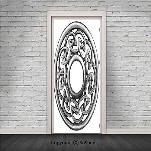 Celtic Door Wall Mural Wallpaper Stickers,Royal Style Circular Celtic Pattern Graphic Print Metal Brooch Design Scottish Shield,Vinyl Removable 3D Decals 30.4x78.7/2 Pieces Set,for Home Decor Silver