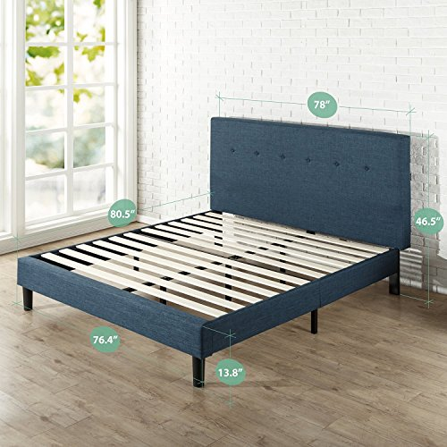 Zinus Omkaram Upholstered Navy Button Detailed Platform Bed / Mattress Foundation / Easy Assembly / Strong Wood Slat Support, King