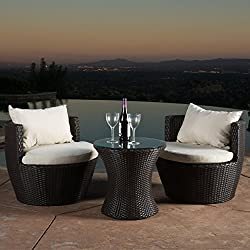 Kyoto Outdoor Patio Furniture Brown Wicker 3-Piece Chat Set w/Cushions