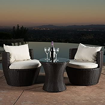 Kyoto Outdoor Patio Furniture Brown Wicker 3 piece Chat Set w  Cushions. Amazon com   Outsunny 3 Piece Outdoor Stacking Rattan Wicker Patio