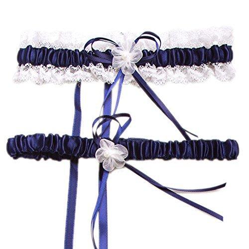(Aurora Bridal® Wedding Accessories Lace Garter for Bridal Dark Blue )