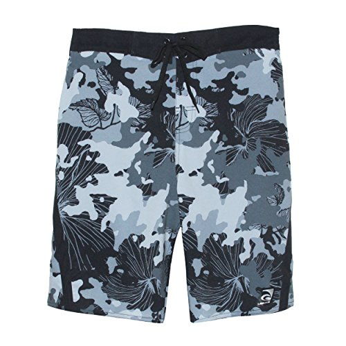 - Laguna Mens Hibiscus Print Stretchable Camo Elastic Boardshorts in Gray, Size S