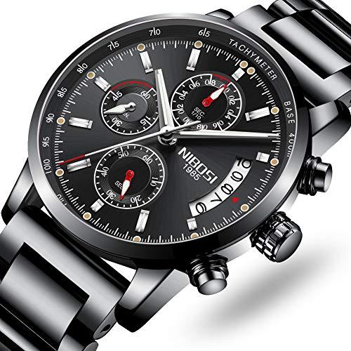 NIBOSI Men's Watches Luxury Sports Military Tachymeter Chronograph Waterproof Quartz Wristwatches Black Color (Tachymeter Chronograph Watch Gents)