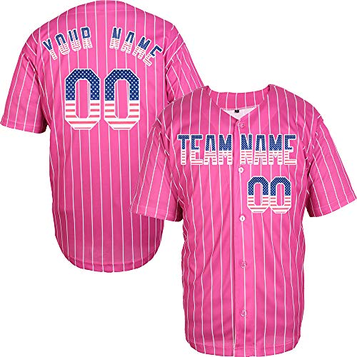 (Pink Pinstriped Custom Baseball Jersey for Men Embroidered Your Name & Numbers,Pink-American Flag Size XL)