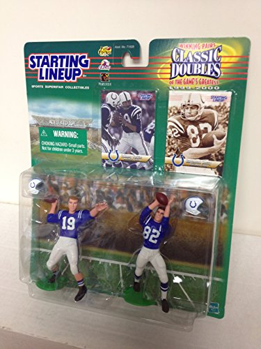 1999 Johnny Unitas and Raymond Berry Indianapolis Colts NFL Football Action Figure Set with Collectible Trading Cards