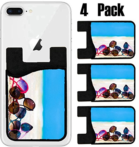 MSD Phone Card holder, sleeve/wallet for iPhone Samsung Android and all smartphones with removable microfiber screen cleaner Silicone card Caddy(4 Pack) picture many sunglasses lying on tropical - Sunglases Custom
