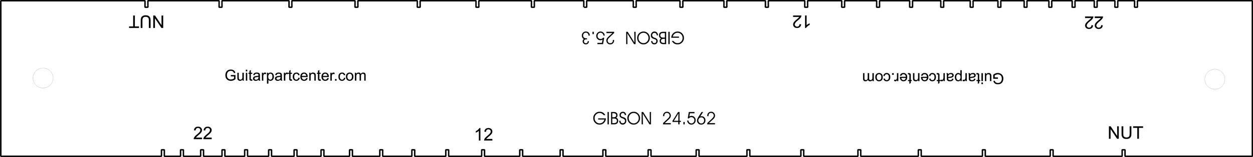 Dual Scal Fingerboard Slotting Template - 24.562'' & 25.3''