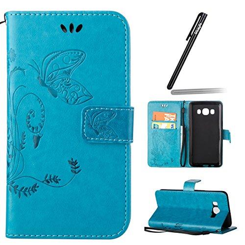 Funda para Galaxy J7 (2016), Galaxy J7 (2016) Funda de PU cuero resistente Ultra Slim Folding Stand Flip Funda Carcasa Caso,Galaxy J7 (2016) Leather Case Wallet Protector Card Holders, Ukayfe Cubierta mariposa-azul