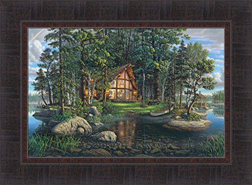 Freedom's Promise by Kim Norlien 17x23 Log Cabin Lake God Bless America Hidden Objects Gazebo Canoe Framed Art Print Picture - Hidden Gazebo