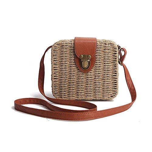 Lovely Candy Small Bag brown For Handbag Straw Woven Square Beach Gaeruite Bag Shoulder Colored Women Vines Crossbody Bag Cw0IFqt