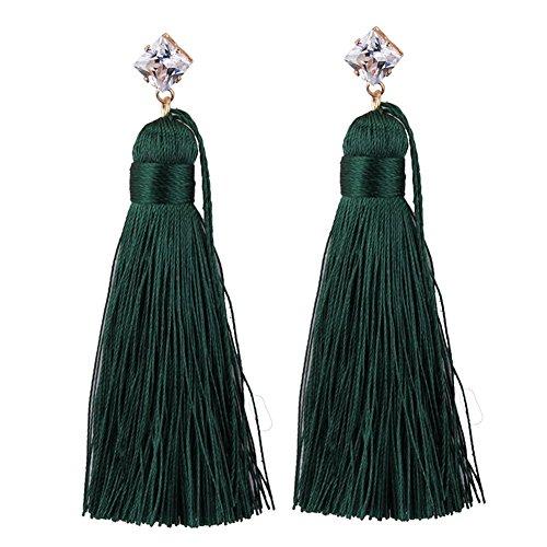Womens Bohemia Diamonds Dangle Earring Long Rope Tassels Temperament Eardrop