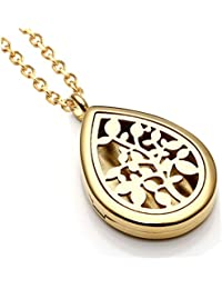 30mm Stainless Steel Silver/Rose Gold Round Water Teardrop Aromatherapy Essential Oil Diffuser Locket Necklace
