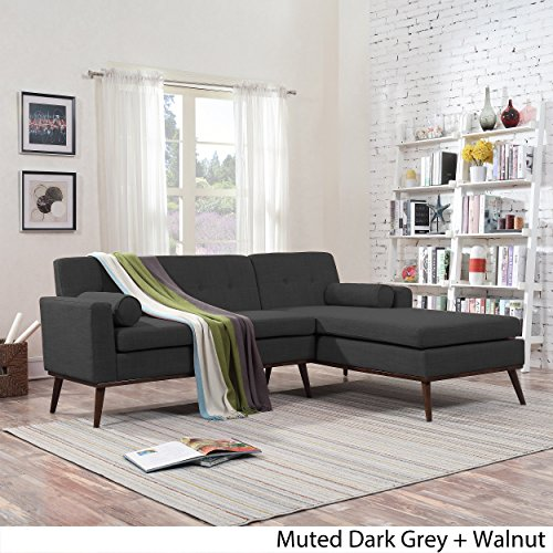 Sophia Mid Century Modern 2 Piece Muted Dark Grey Fabric Sectional Sofa and Lounge Set