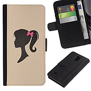 EuroTech - Samsung Galaxy Note 4 SM-N910 - Girl Silhouette Bow Pink Hairdresser Beige - Cuero PU Delgado caso Billetera cubierta Shell Armor Funda Case Cover Wallet Credit Card