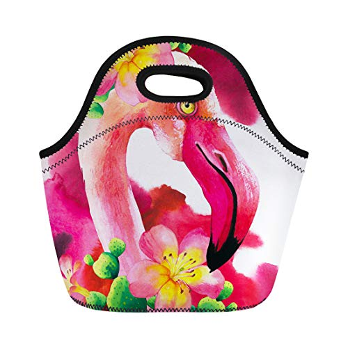- Semtomn Neoprene Lunch Tote Bag Abstract Watercolor on Pink Flamingo Tropical Bird Paradise Animal Reusable Cooler Bags Insulated Thermal Picnic Handbag for Travel,School,Outdoors,Work