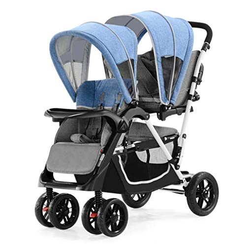 Lightweight Folding Double Stroller, City Mini Side by Side Tandem Umbrella Stroller, Safety Seats/Safety Reflective Strip Pushchair, Suitable for 6 Months to 3 Years