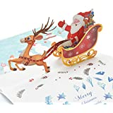 WESAPPINC 3D Christmas card Santa Claus Reindeer Pop Up Gift Card, Thank You Holiday Cards 3 Packs