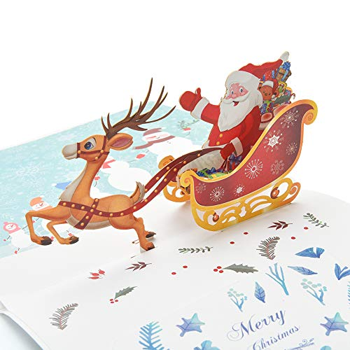 Dependable Handicraft 3d Holiday Greeting Cards Santas Sleigh Deer Pop Up Thanksgiving Invitations Card Jewelry & Watches